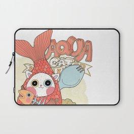 Aqua cat_ Rappa Laptop Sleeve