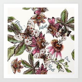 Tropical pattern with passionflower and butterlies Art Print