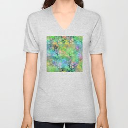 Iridescent Tropical Leaves in Aquas, Greens and Yellows Unisex V-Neck