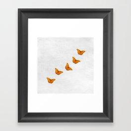 Beautiful butterflies on a textured white background Framed Art Print