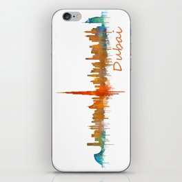 Dubai, emirates, City Cityscape Skyline watercolor art v2 iPhone Skin