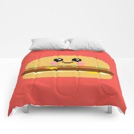 Happy Pixel Hamburger Comforters