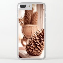 Large old dried cones on windowsill Clear iPhone Case