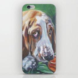 Beautiful Basset Hound dog portrait art an original painting by L.A.Shepard iPhone Skin