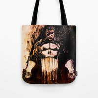 punisher Tote Bags featuring Punisher by hbCreative