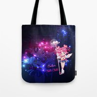 chibi Tote Bags featuring Sailor Chibi Chibi Moon by Neo Crystal Tokyo