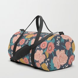 Paint by Numbers Florals on Navy Duffle Bag