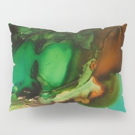 Melting Crystals, Green, Yellow, Brown an Aqua Pillow Sham