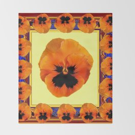 This design is all about the ORANGE PANSIES ON YELLOW COLOR DESIGN ART decor, furnishings, or for th Throw Blanket