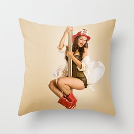 """""""Four-Alarm Flirt"""" - The Playful Pinup - Firefighter Girl Pin-up by Maxwell H. Johnson Throw Pillow"""
