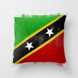 St Kitts and Nevis Distressed Halftone Denim Flag Throw Pillow