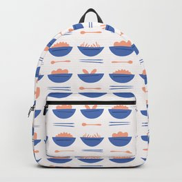 Asian Food Soup Bowl Vector Pattern Backpack