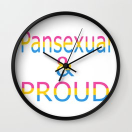 Pansexual and Proud (white bg) Wall Clock