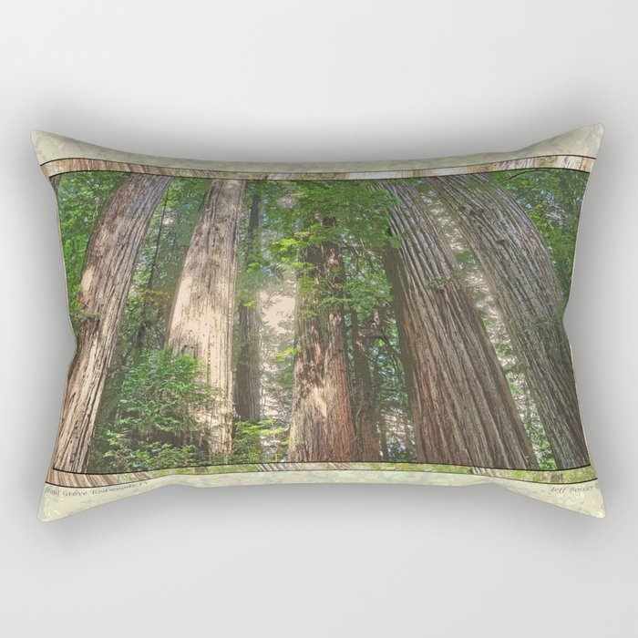 STOUT GROVE REDWOODS 4 LOOKING UP INTO THE TREES Rectangular Pillow