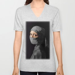 Ninja with a Pearl Earring Under Her Cowl Unisex V-Neck