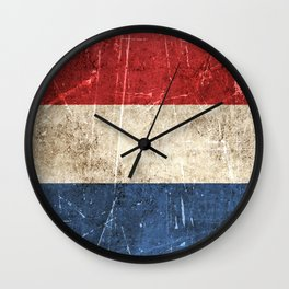 Vintage Aged and Scratched Dutch Flag Wall Clock
