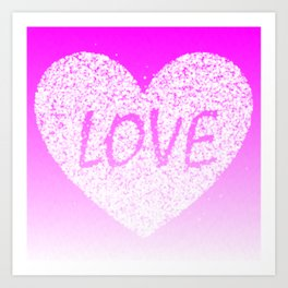 Pink Ombre Love in White Confetti Heart Art Print