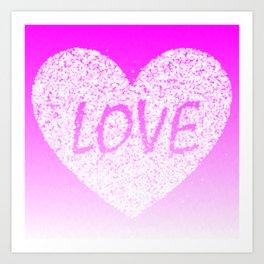 Pink Ombre Love in White Confetti Heart Art Print