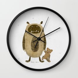 monster and bear Wall Clock