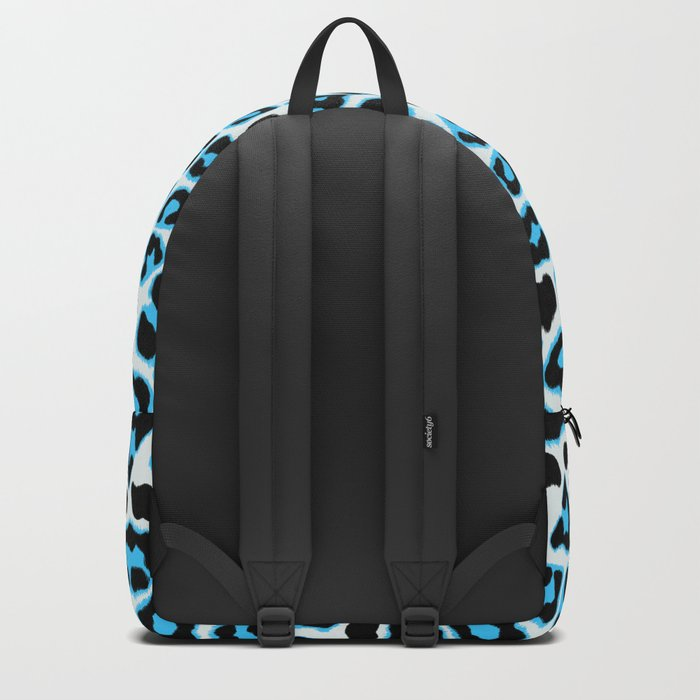 Blue & Black Leopard Print Pattern Backpack