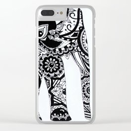 Mandala Elephant black and white Clear iPhone Case