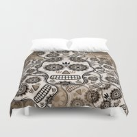 sugar skulls Duvet Covers featuring Sugar skulls by nicky2342