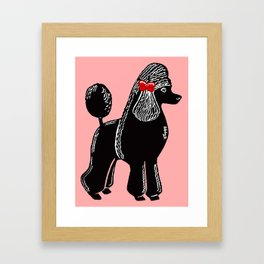 Black Standard Poodle with a Red Bow Framed Art Print