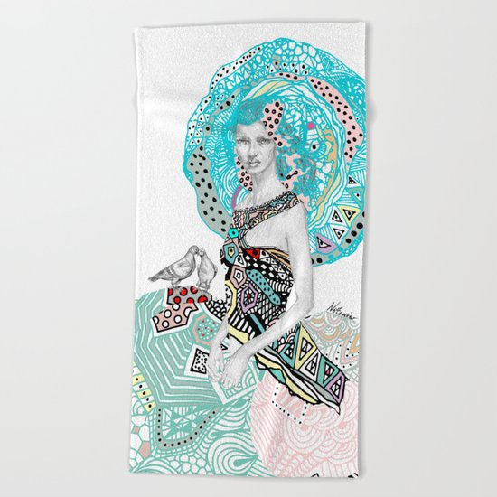 Paris Floral Girl Love Birds  Beach Towel