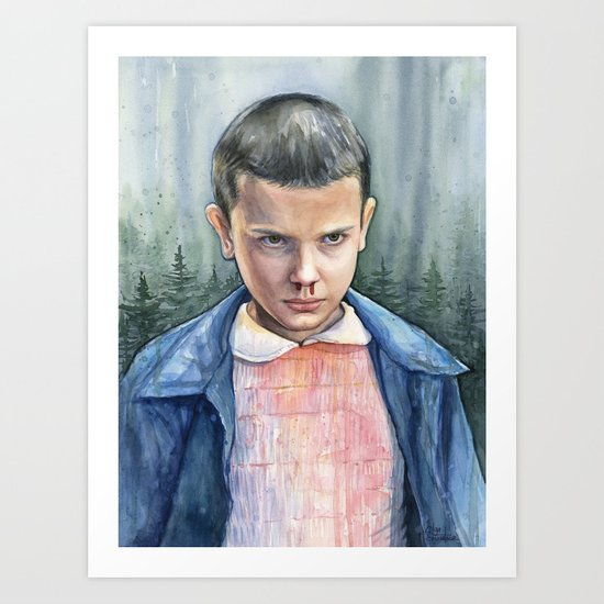 Stranger Things Eleven Watercolor Portrait Art Art Print