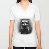 rocket raccoon V-neck T-shirts featuring Raccoon Mugshot by Company of Wolves