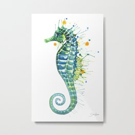 Seahorse: Green Metal Print
