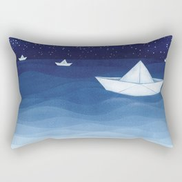 Paper boats illustration Rectangular Pillow