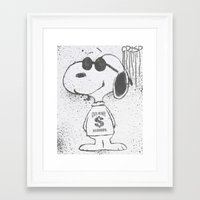snoopy Framed Art Prints featuring snoopy by Crisp