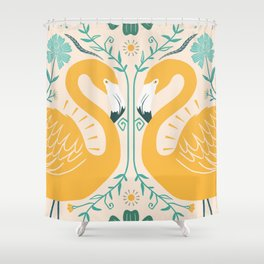 Yellow simetric Shower Curtain