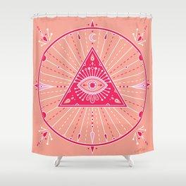 Evil Eye Mandala – Pink Shower Curtain