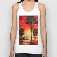 african Tank Tops featuring African sunset by maggs326