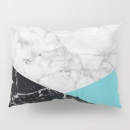 White Marble - Black Granite & Teal #871 Pillow Sham