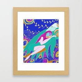 woman and bird snuggle Framed Art Print