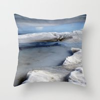 tote bag Throw Pillows featuring Ice Abstract (Tote Bag) by Friederike Alexander