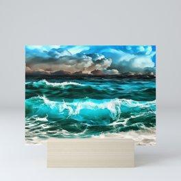stormy sea waves reacstd Mini Art Print