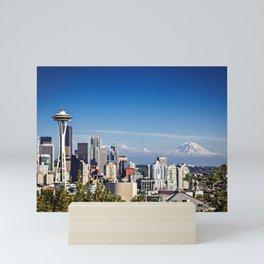 Seattle Overlook with Mt Rainier Mini Art Print