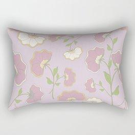 Fanned Flowers with Butterflies, grape Rectangular Pillow