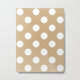 Large Polka Dots - White on Tan Brown Metal Print