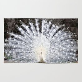 White Peacock Low Poly Geometric Triangles Rug