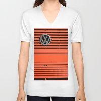 volkswagen V-neck T-shirts featuring Red Volkswagen by Marieken