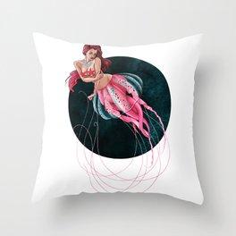 Mauve Stinger Jellyfish Throw Pillow