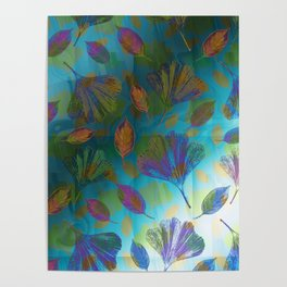Ginkgo Leaves Under Water Poster