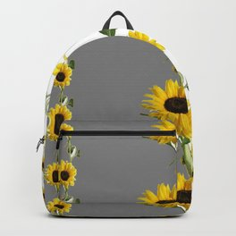 LINEAR YELLOW SUNFLOWERS GREY & WHITE ART Backpack