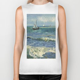 The Sea at Les Saintes-Maries-de-la-Mer by Vincent van Gogh Biker Tank