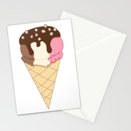 Chocolate dipped Neapolitan topped with Chopped Nuts Stationery Cards